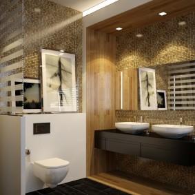 Темно-коричневая мебель в интерьере ванной