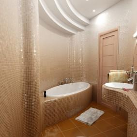 Декор стен ванной коричневой мозаикой