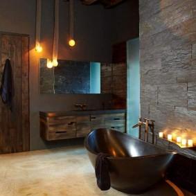 Каменная ванна темно-коричневого цвета