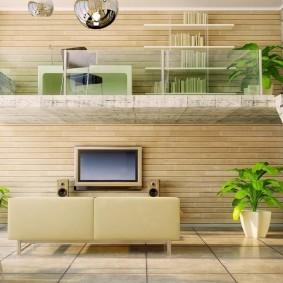 Интерьер двухуровневой квартиры в эко стиле