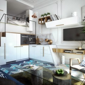 Оформление гостиной зоны в квартире с высоким потолком