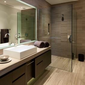 Коричневый ламинат в интерьере ванной