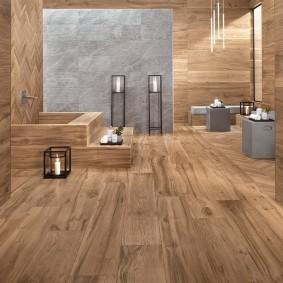 Дизайн ванной с ламинированными панелями