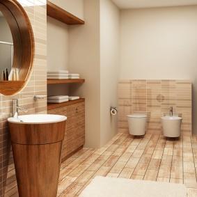 Деревянная тумба под раковиной в ванной
