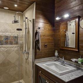 Небольшая ванная комната в стиле кантри