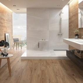 Водостойкий ламинат на полу в ванной