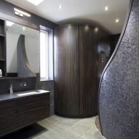 Оттенки дерева в интерьере ванной комнаты