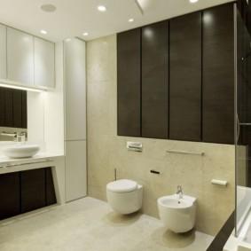 Подвесные шкафы над раковиной в ванной