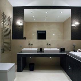 Черная мебель в ванной современного стиля