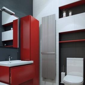 Красный шкаф-пенал в углу ванной