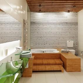 Акриловая ванна в деревянном подиуме
