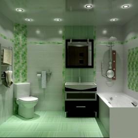 Зеленый пол в ванной квадратной формы