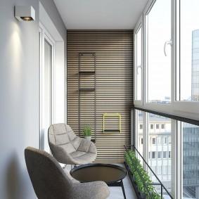 Дизайн небольшого балкона с панорамным остеклением