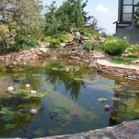 Плоский камень по берегам садового водоема