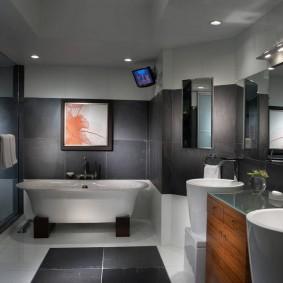 Оттенки серого цвета в интерьере ванной комнаты