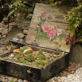 Мини-клумба из деревянного ящика