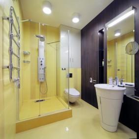 Разделение ванной комнаты на зоны с помощью цвета
