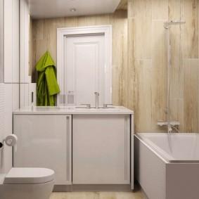 Тумба с раздвижными дверками под умывальником в ванной