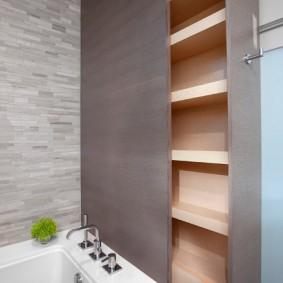 Выдвижные полочки над ванной из акрила