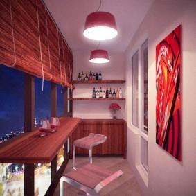 Дизайн лоджии с барной стойкой у окна