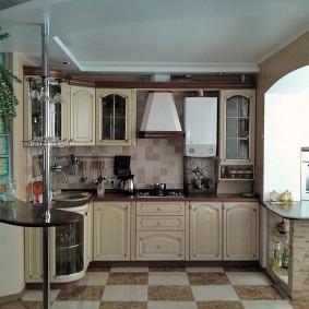 Интерьер кухни после объединения с лоджией
