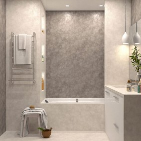 Современная ванная комната с декоративной штукатуркой