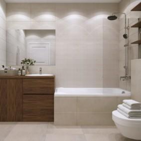 Коричневая мебель в интерьере ванной