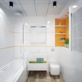 Накладные светильники на потолке в ванной