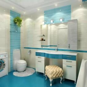 Голубой пол в ванной комнате