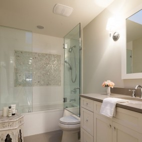 Распашная дверка на ванной с душем