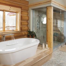 Обустройство ванной в доме из бревна