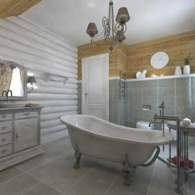 Стена из окрашенных бревен в ванной комнате