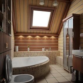 Узкий шкаф напротив угловой ванны