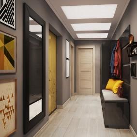 Дизайн коридора с серыми стенами