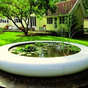 Декоративный водоем в бетонной чаше