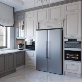 Двустворчатый холодильник в интерьере кухни
