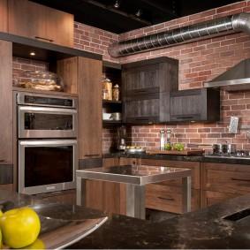 Открытая вытяжка на кухне в стиле лофт