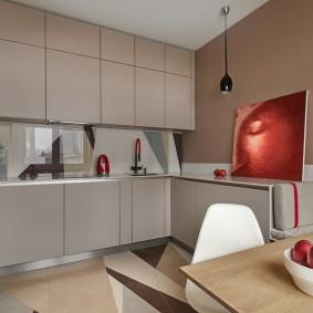 Темно-бежевый гарнитур для кухни в квартире