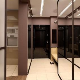 Зеркальные дверцы встроенного шкафа-купе