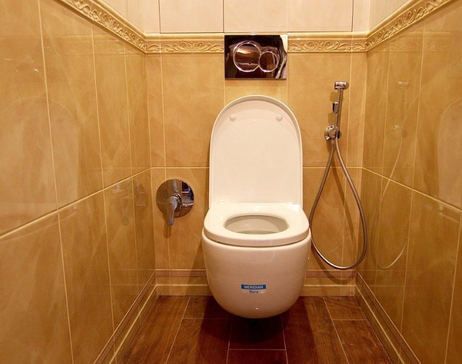 Настенный гигиенический душ в небольшом туалете