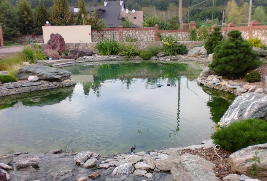 Садовый водоем с каменными берегами