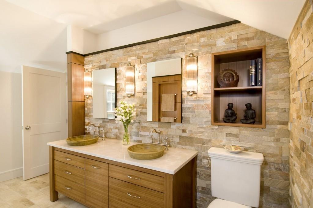 Декор ванной комнаты искусственным камнем