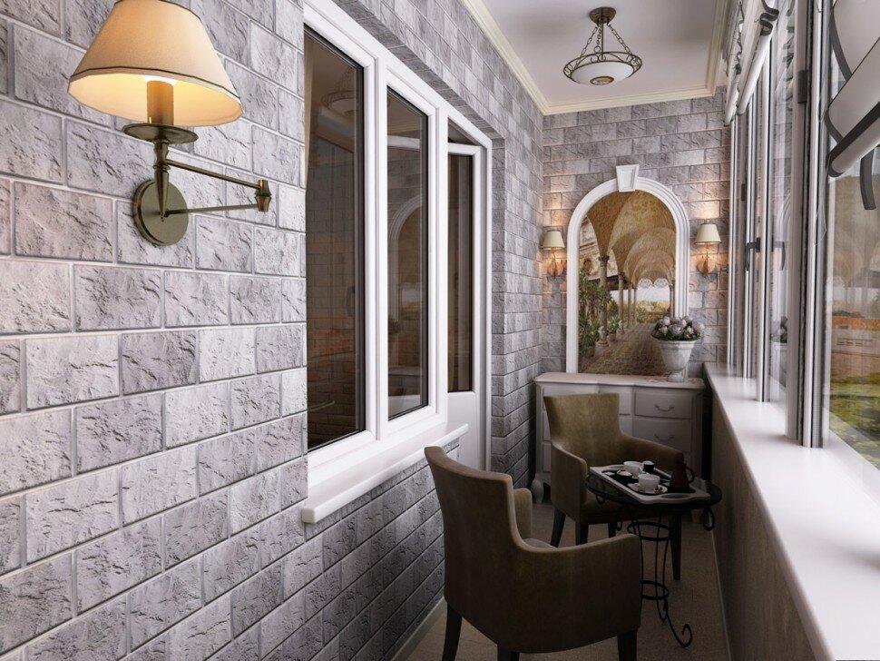 Отделка камнем стены на теплом балконе