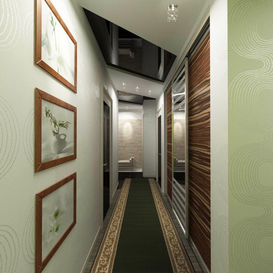 Декор картинами узкого коридора