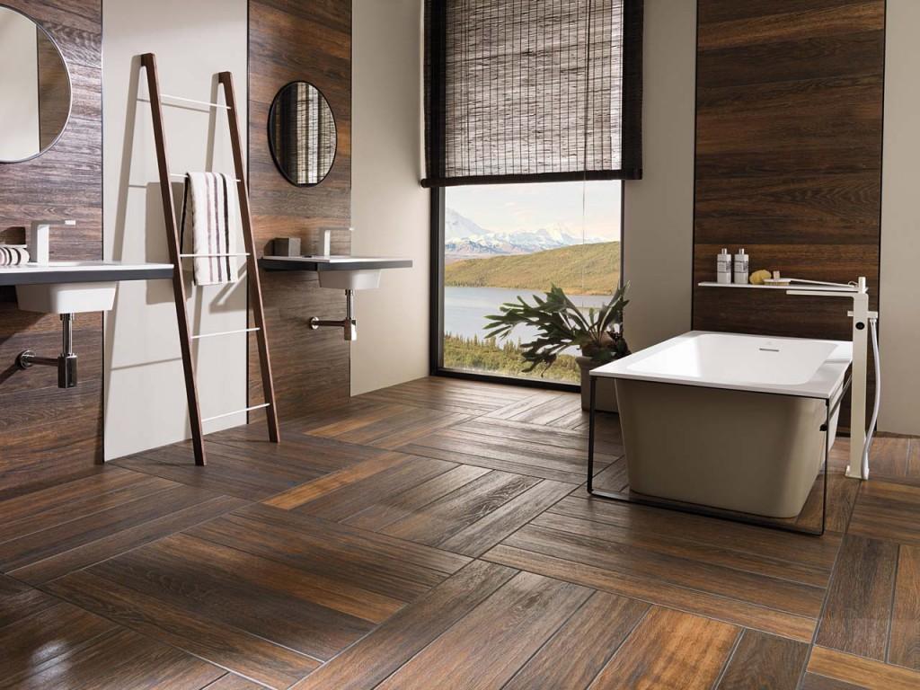 Керамогранит в интерьере ванной в частном доме