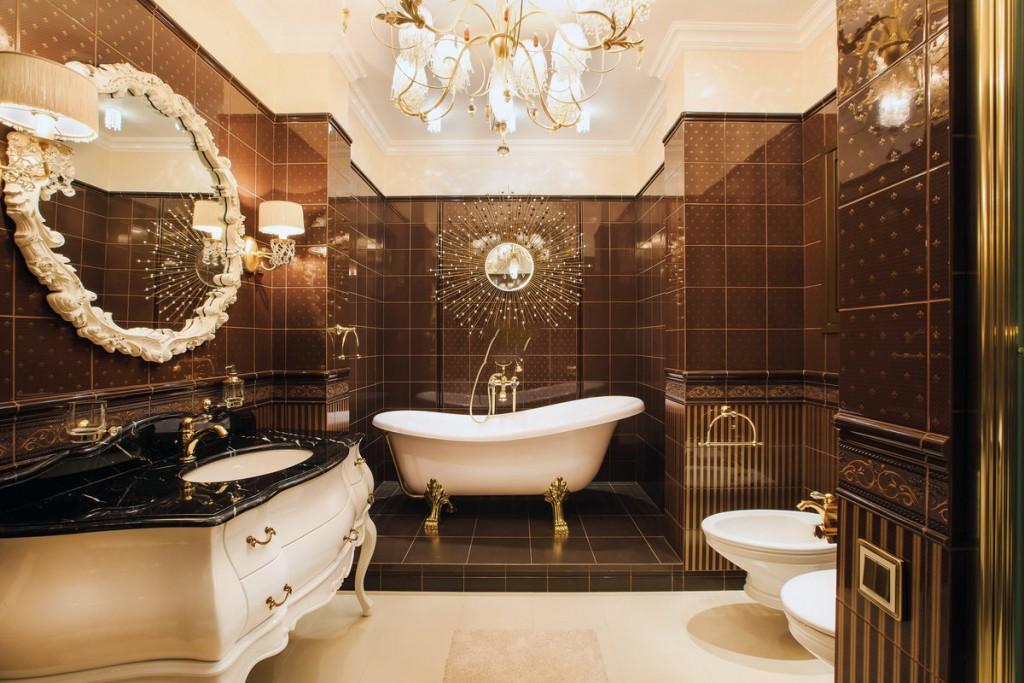 Дизайн классической ванной в коричневых оттенках
