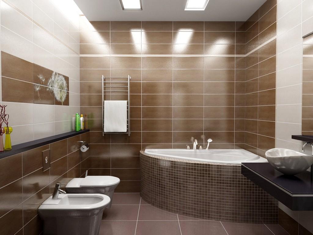 Отделка коричневой мозаикой встроенной ванны