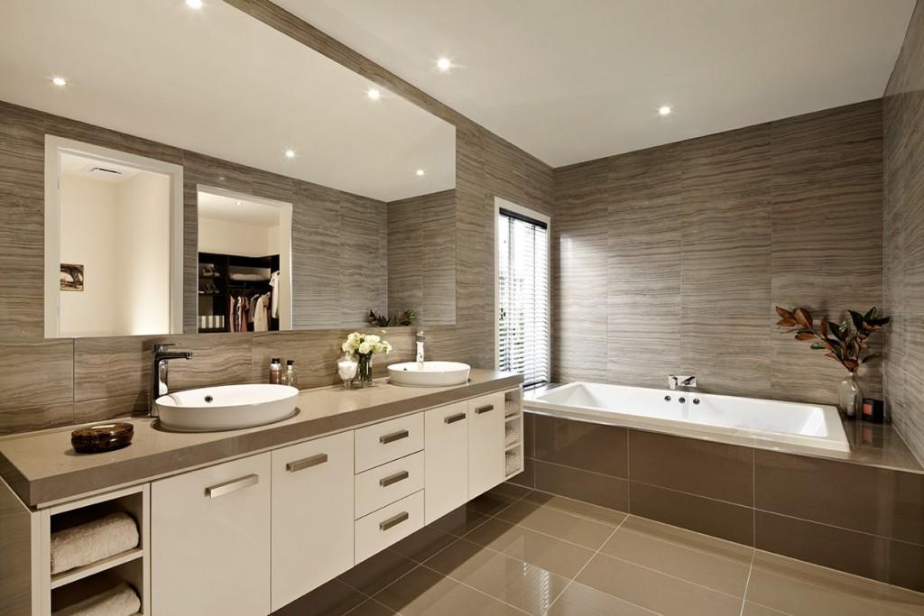 Дизайн современной ванной комнаты в коричневых тонах