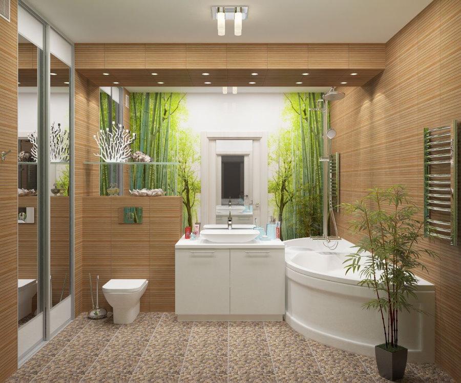 Коричневая ванная комната в стиле эко