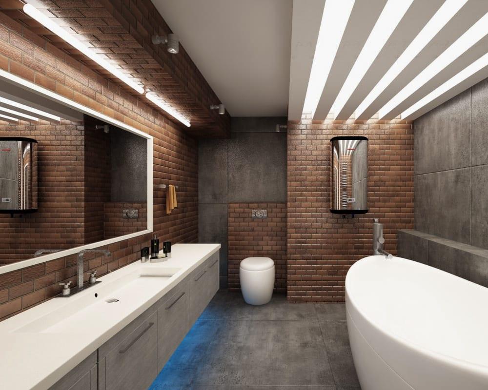 Дизайн совмещенного санузла с кирпичной стеной